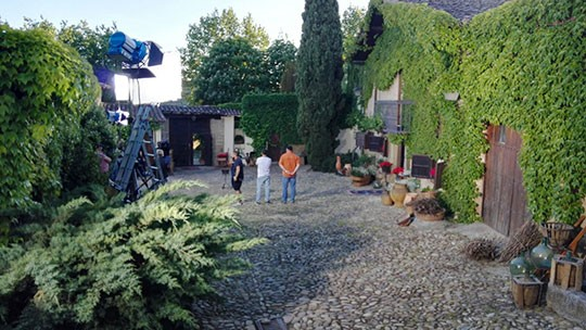 Film crew in the courtyard